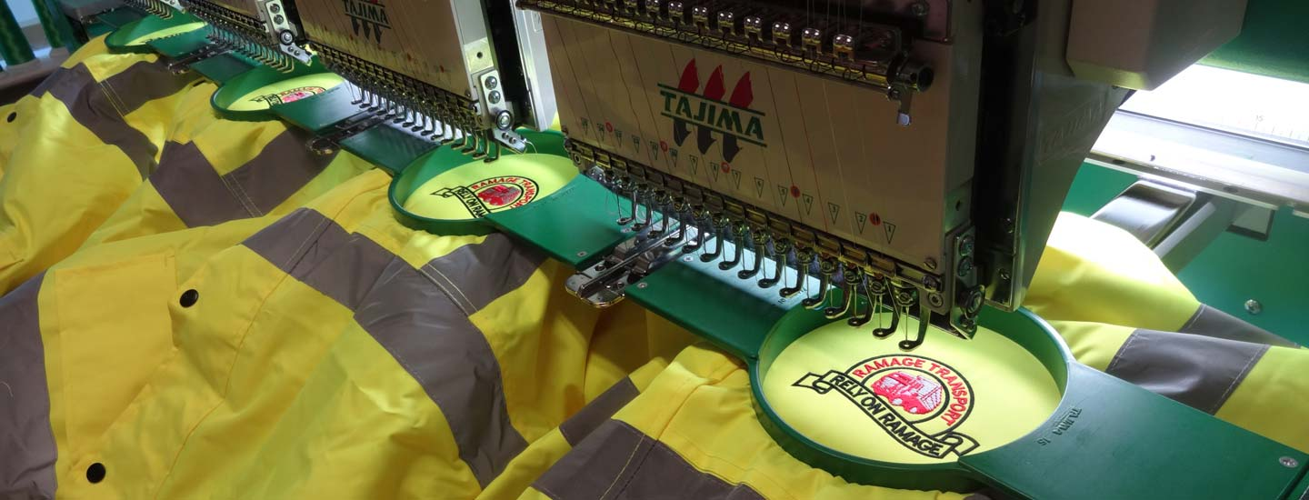 Embroidery is done in house on our own equipment
